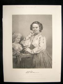 Harriet G Hosmer 1873 Antique Portrait Print